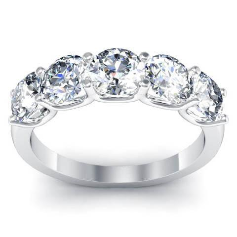 2.00cttw Shared Prong Round Brilliant GIA Certified Diamond Five Stone Ring