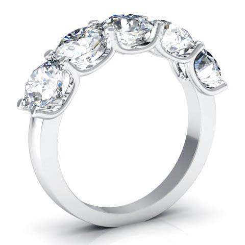 3.00cttw U Prong Round GIA Certified Diamond Five Stone Ring Five Stone Rings deBebians