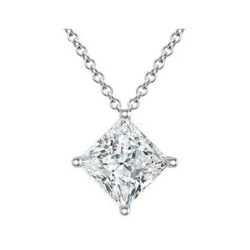 Certified Princess Diamond Pendant in Kite Setting Solitaire Necklaces deBebians