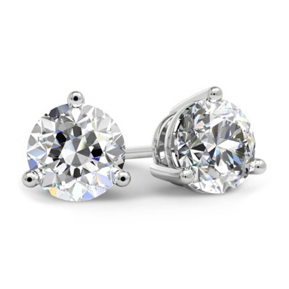 Round Brilliant Diamond Stud Earrings - 3 Prong Diamond Stud Earrings deBebians