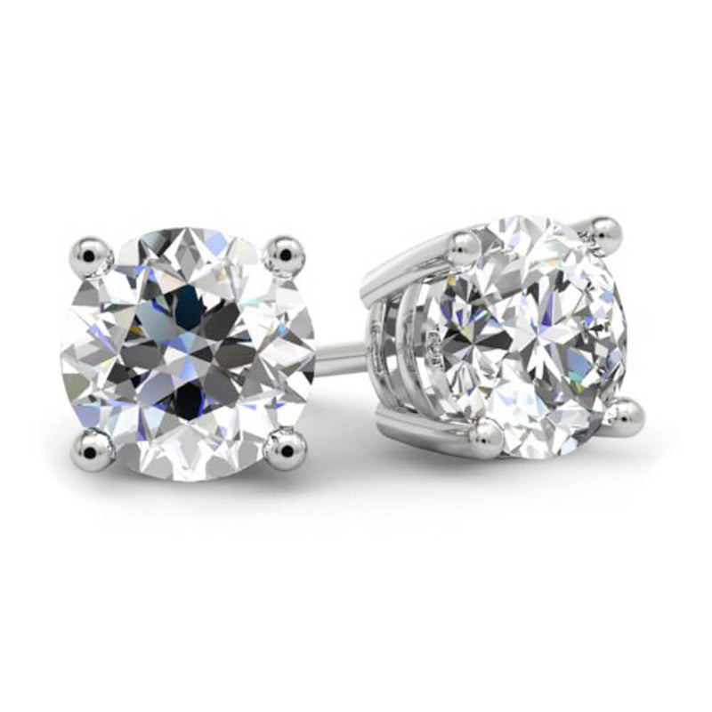 Round Brilliant Diamond Stud Earrings - 4 Prong Diamond Stud Earrings deBebians