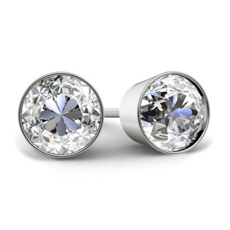 2.00cttw GIA Certified Diamond Stud Earrings Diamond Stud Earrings deBebians 14k White Gold Bezel (+$30)