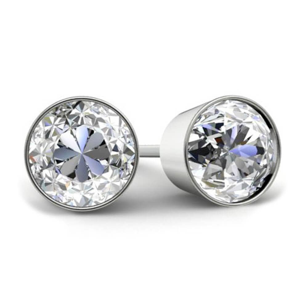 Round Brilliant Diamond Stud Earrings - Bezel Set Diamond Stud Earrings deBebians