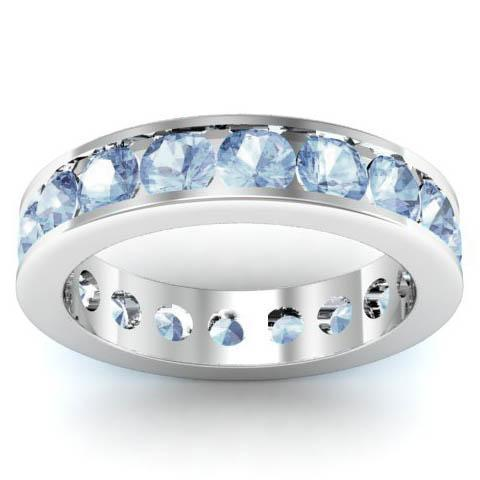 Channel Set Aquamarine Eternity Band Gemstone Eternity Rings deBebians