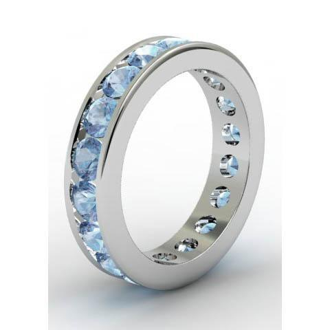 Channel Set Aquamarine Eternity Band