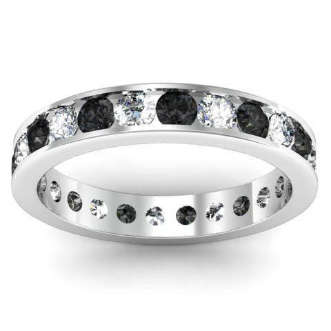 Channel Set Eternity Band with Round Black and White Diamonds Gemstone Eternity Rings deBebians