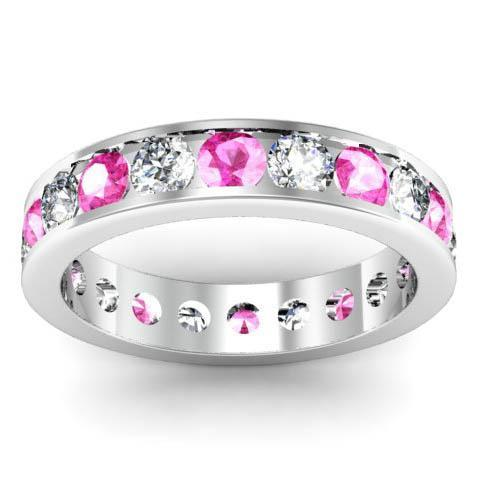 Channel Set Eternity Band with Round Diamonds and Pink Sapphires Gemstone Eternity Rings deBebians