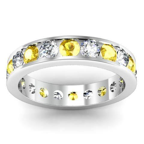 Channel Set Eternity Band with Round Diamonds and Yellow Sapphires Gemstone Eternity Rings deBebians