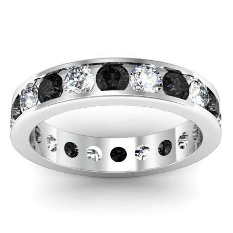 Channel Set Eternity Band with Round White and Black Diamonds Gemstone Eternity Rings deBebians