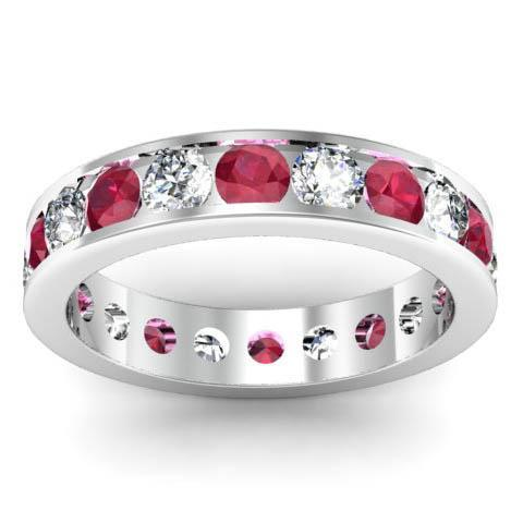 Channel Set Eternity Ring with Diamonds and Rubies Gemstone Eternity Rings deBebians