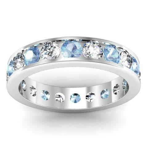 Channel Set Eternity Ring with Round Diamonds and Aquamarines Gemstone Eternity Rings deBebians