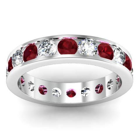 Channel Set Eternity Ring with Round Diamonds and Garnets Gemstone Eternity Rings deBebians