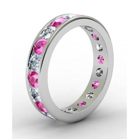Channel Set Eternity Ring with Round Diamonds and Pink Sapphires Gemstone Eternity Rings deBebians