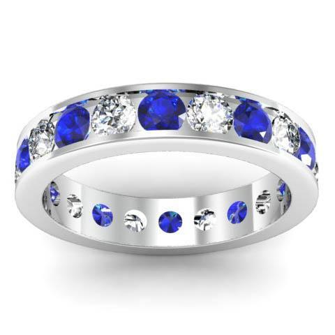 Channel Set Eternity Ring with Round Diamonds and Sapphires Gemstone Eternity Rings deBebians