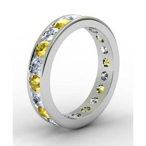 Channel Set Eternity Ring with Round Diamonds and Yellow Sapphires