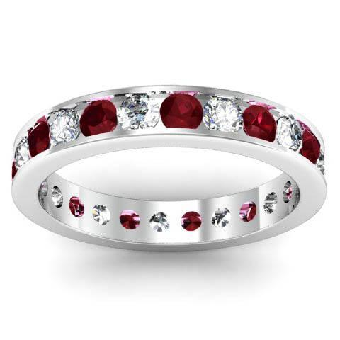 Channel Set Eternity Ring with Round Garnets and Diamonds Gemstone Eternity Rings deBebians