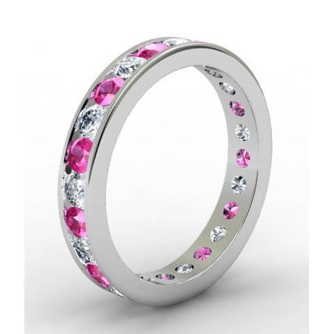 Channel Set Eternity Ring with Round Pink Sapphires and Diamonds Gemstone Eternity Rings deBebians