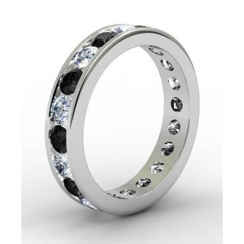 Channel Set Eternity Ring with Round White and Black Diamonds Gemstone Eternity Rings deBebians