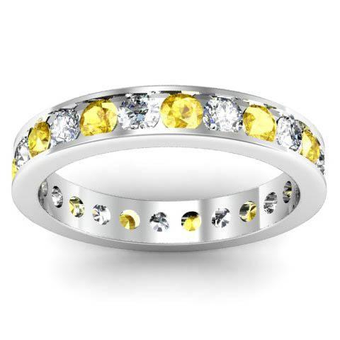 Channel Set Eternity Ring with Round Yellow Sapphires and Diamonds Gemstone Eternity Rings deBebians