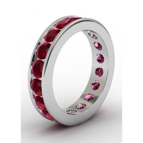 Channel Set Garnet Eternity Band Gemstone Eternity Rings deBebians