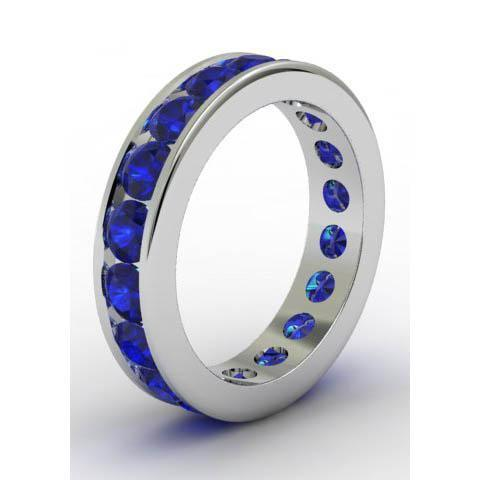 Channel Set Sapphire Eternity Band Gemstone Eternity Rings deBebians