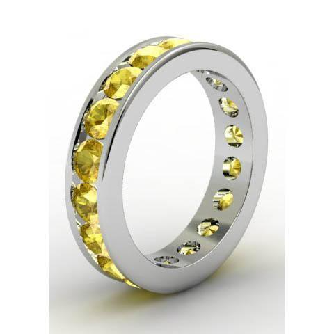 Channel Set Yellow Sapphire Eternity Band Gemstone Eternity Rings deBebians