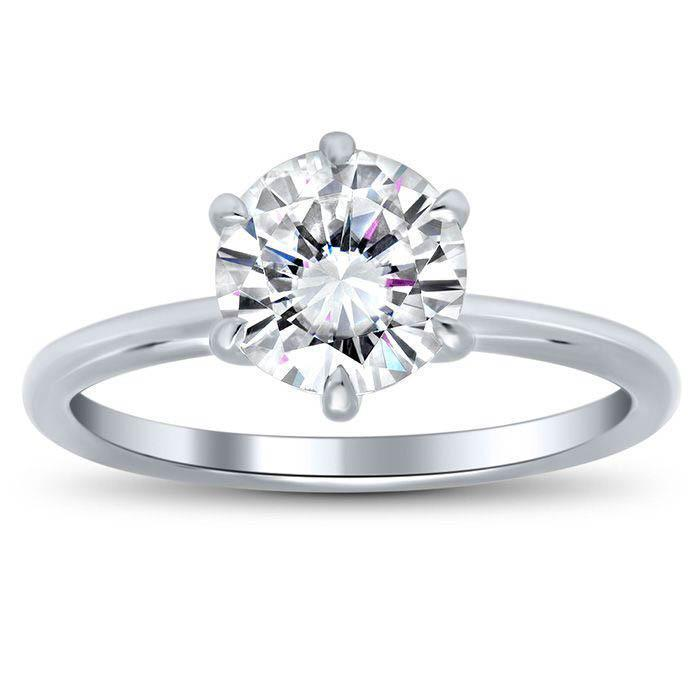 6 Prong Round Moissanite Solitaire Engagement Ring Moissanite Engagement Rings deBebians