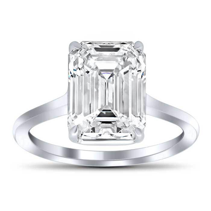 Emerald Cut Forever One Moissanite Solitaire Ring Moissanite Engagement Rings deBebians