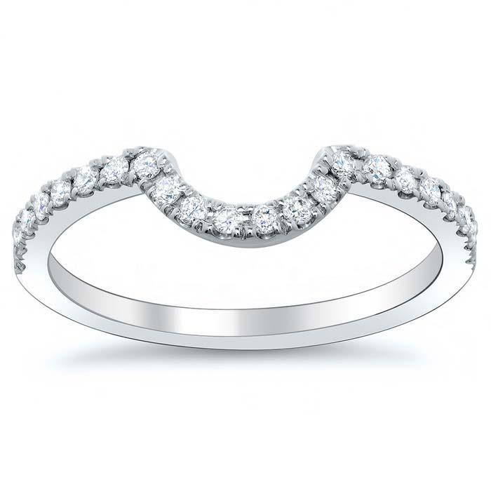 Curved Diamond Wedding Band Half Eternity Rings deBebians