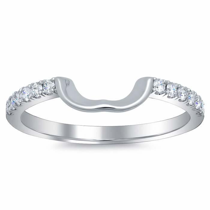 Curved Matching Diamond Wedding Band for Heart Shape Diamond Wedding Rings deBebians