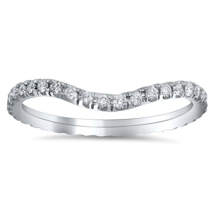 Curved Pave Diamond Eternity Band - 0.55 cttw Diamond Wedding Rings deBebians