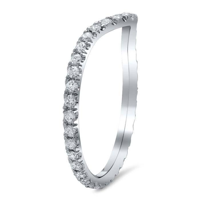 Curved Pave Diamond Wedding Ring