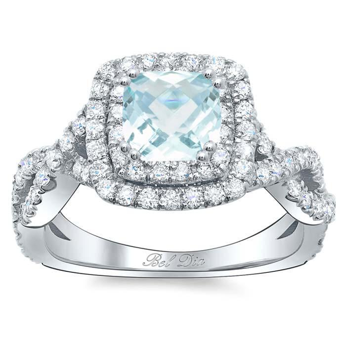 Cushion Aquamarine Double Halo Engagement Ring with Twisted Band Aquamarine Engagement Rings deBebians