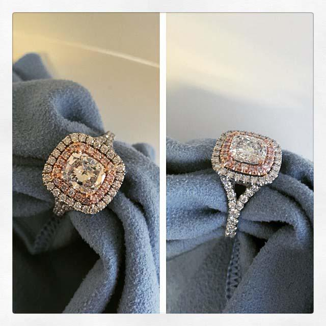 Cushion Baby Split Double Halo Engagement Ring with Pink Diamonds