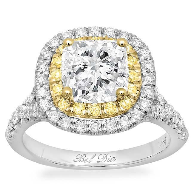 Cushion Baby Split Double Halo Engagement Ring with Yellow Diamonds Double Halo Engagement Rings deBebians