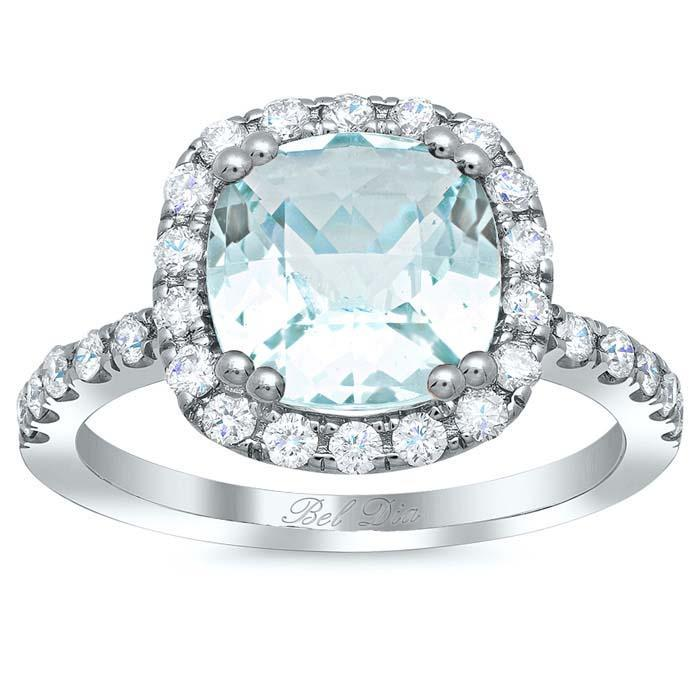 Cushion Cut Aquamarine Halo Engagement Ring Aquamarine Engagement Rings deBebians