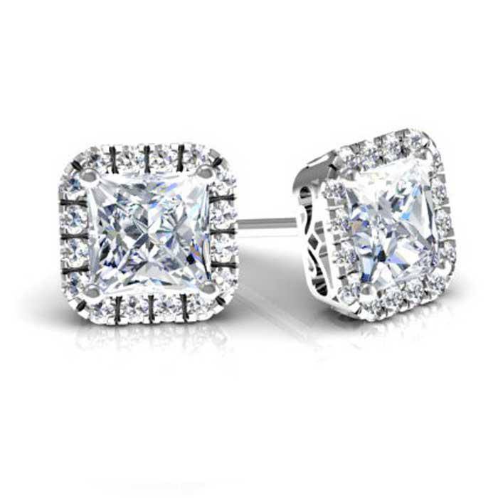 Cushion Cut Moissanite Cushion Halo Earrings