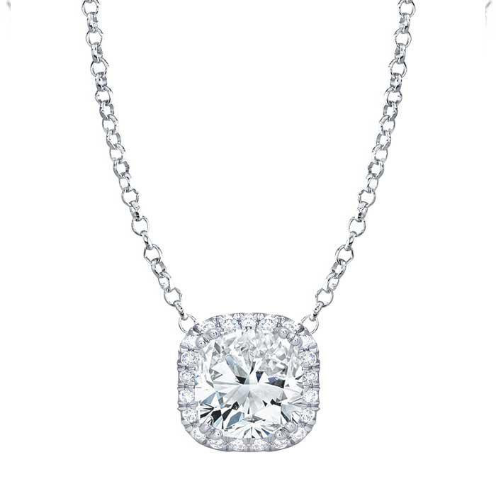 Cushion Cut Moissanite Pendant with Diamond Cushion Halo Moissanite Necklaces deBebians