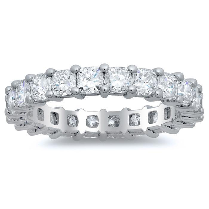 3.00cttw Cushion Cut Shared Prong Diamond Eternity Band Diamond Eternity Rings deBebians