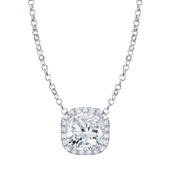 Cushion Diamond Halo Pendant Diamond Necklaces deBebians