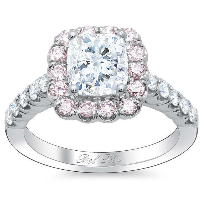 Cushion Engagement Ring with Pink Diamond Halo Halo Engagement Rings deBebians