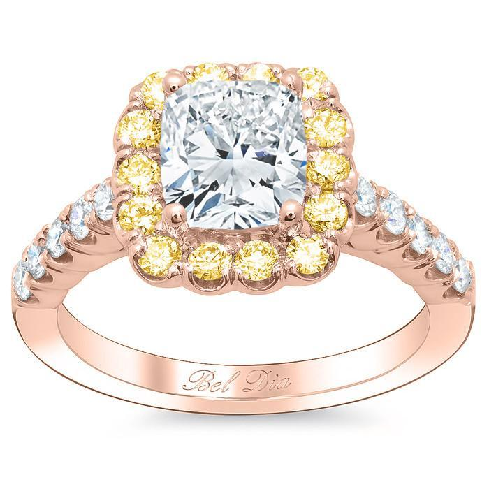 Cushion Engagement Ring with Yellow Diamond Halo Halo Engagement Rings deBebians