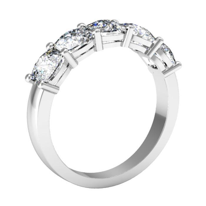 Cushion Forever One Five Stone Ring Moissanite Wedding Rings deBebians