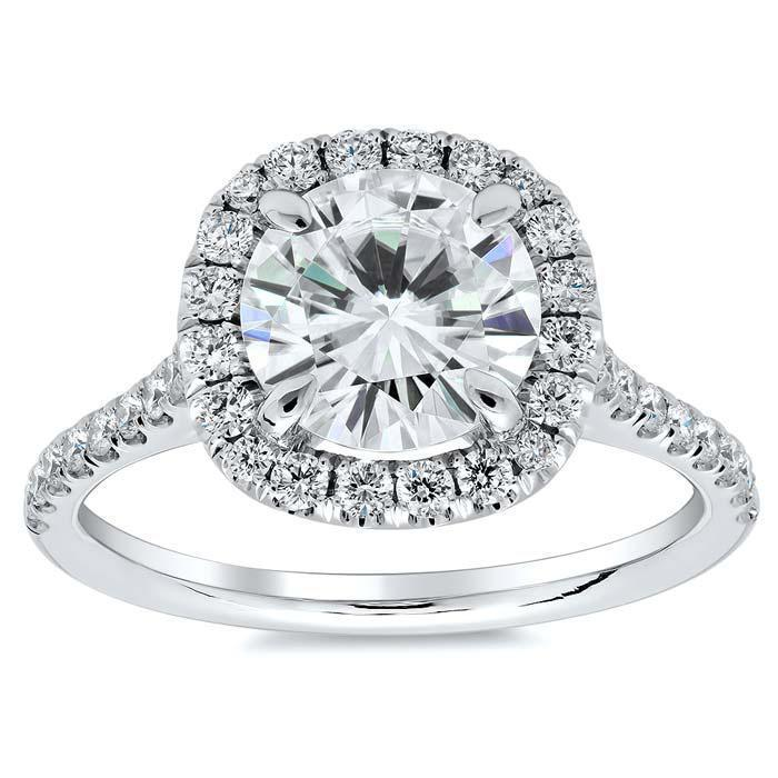 Cushion Halo Engagement Ring for Round Diamond or Moissanite Halo Engagement Rings deBebians