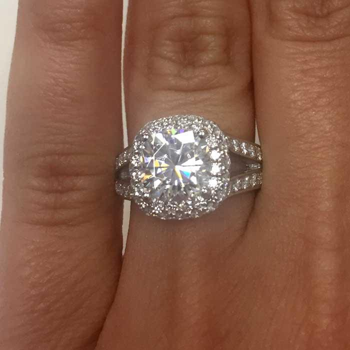 Cushion Halo Engagement Ring with Double Shank Halo Engagement Rings deBebians