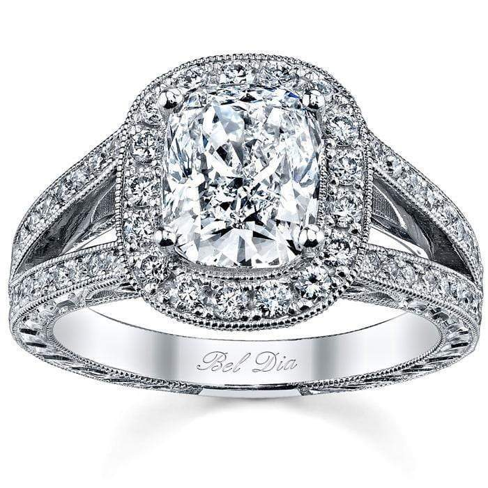 Cushion Halo Engagement Ring with Split Shank Halo Engagement Rings deBebians