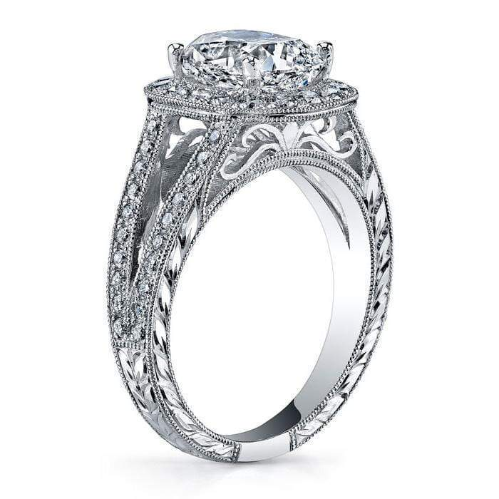 Cushion Halo Engagement Ring with Split Shank