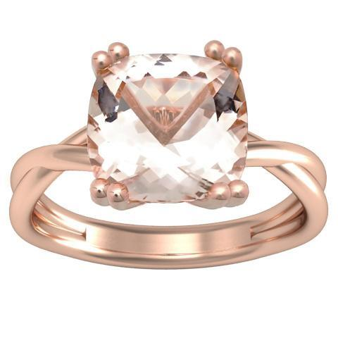 Cushion Morganite Solitaire with Twisted Rose Gold Band Solitaire Engagement Rings deBebians