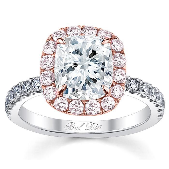 Pink Diamond Halo Engagement Ring For Cushion Diamond