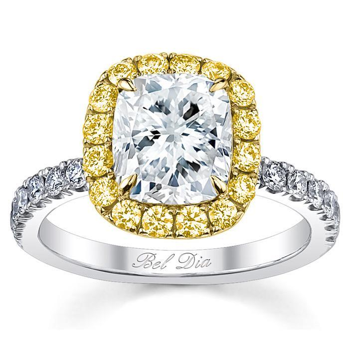 Cushion Yellow Diamond Halo Engagement Ring for White Diamond Halo Engagement Rings deBebians